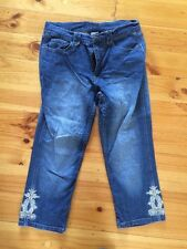 Rockmans embroidered cropped jeans Size 10