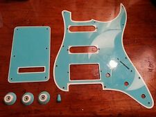 HSS Pickguard,Back Plate, Knobs & Switch Tip.Blue/Cream. Fits Fender Strat.  JAT