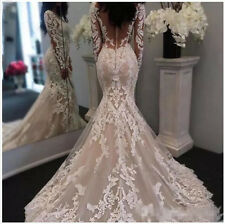 New Lace Appliqued Wedding Dresses Long Sleeve Mermaid Bridal Gowns Custom