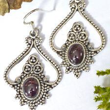 schöne Handgeschmiedet 925 Silber Ohrhänger Granat Ohrringe Handgranuliert BWare