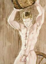 Oh boy, homme nu, watercolor print nude male cowboy lifting barrel gay interest