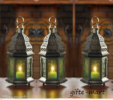 """6 GREEN Moroccan 10"""" tall Candle holder Lantern Lamp wedding table centerpiece"""