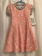 Bonnie Jean Girls Sz 5 Athletic Pink Lace Short Sleeve Skater-Style Dress NWT