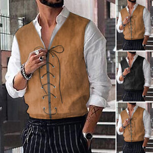 Men's Medieval Renaissance Pirate Waistcoat Steampunk Gothic Vest Coats Costume