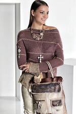 Mehrfarbige hüftlange Damen-Pullover mit mittlerer Strickart ohne Verschluss