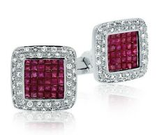 925 Sterling Silver Natural Gem Stone Genuine Ruby Cuffllinks Jewelery