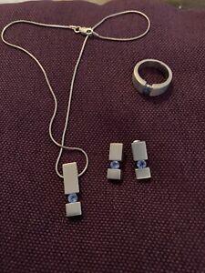 Schmuckset , Kette Ohrringe Ring Silber 🦋925er ta z Echtschmuck 🦋Zirkonia