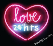"""Rare """" Love 24 Hours """" Wall Decor Man Cave Neon Sign Light Fast Free Shipping"""