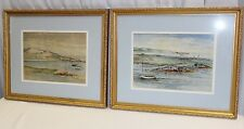 Original Belle D Hodgkins Set of 2 Watercolor Paintings Wingaersheek Gloucester