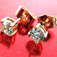 STUD EARRINGS REAL 18K ROSE G/F GOLD SOLID DIAMOND SIMULATED DESIGN FS3AN518