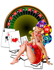 Sexy PinUp Girl Waterslide Decal Sticker Roulette Gambling tattoo Decal s295