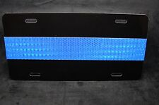 THIN BLUE LINE POLICE METAL NOVELTY LICENSE PLATE FOR CARS (REFLECTIVE BLUE)