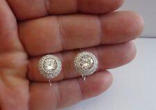 925 STERLING SILVER ROUND HOOK EARRINGS W/ 7 CT DIAMONDS/ 17MM BY 13MM