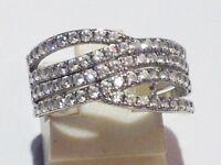 bague rétro déco argent 925 poinçon oxyde diamant brillance T.52