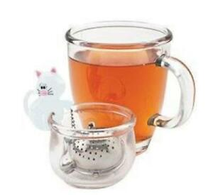 Joie Meow Tea Cup Infuser & Bowl - White Cat and Fish Shaped Infuser