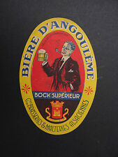 Ancienne étiquette BIERE D'ANGOULEME / pipe Rohr tubo /  french beer label