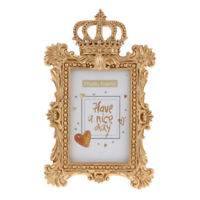 Luxury Baroque Style Gold Crown Resin Desktop Photo Frame,Rectangle 6 Inch