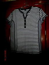 AMERICAN LIVING  Black and White Striped 100% Knit Top Short Sl Size:L EUC