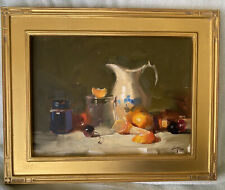 Still Life oil painting Gesso Panel Antique Pitcher Fruit  Framed Signed Huang