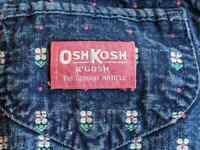 Vintage Osh Kosh Overalls Pink Flowers Floral Bow 4t Union Denim Made in USA