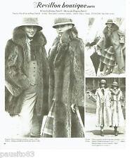PUBLICITE ADVERTISING 036  1977  Revillon boutique fourrure manteau  marmotte