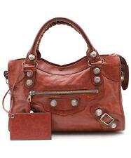 Authentic BALENCIAGA Giant City 2WAY Shoulder Bag Handbag Red leather