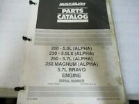 PM120 Quicksilver 5.0L Bravo/Alpha Engine Parts Catalog Manual P/N 90-816596