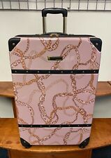 "VINCE CAMUTO PINK WITH CHAIN 28"" LUGGAGE SPINNER WHEELS GOLD STUDS MSRP $400"