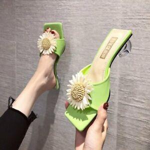 Trendy Women's Retro Sqaure Toes Kitten Heels Summer Casual Slippers Shoes Free