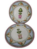"""Andrea by Sadek Topiary Garden Collection Set Of 2 Salad/Dessert Plates 8"""""""