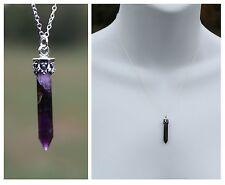 New 925 Sterling Silver Purple Amethyst Gemstone Crystal Pendant Necklace 16L