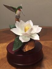 Porcelain Music Box Waltz of Flowers Meico No Chips No Cracks Magnolia Bird