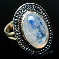 Large Rainbow Moonstone 925 Sterling Silver Ring Size 8.25 Jewelry R11682F
