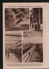 New-York Fire Incendie Raffinage du pétrole oil refining Yale 1919 ILLUSTRATION