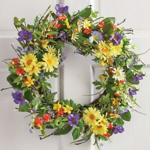 "19"" Dia. Bright Colors & Lush Greenery Wild Daisy Floral Twig Home Door Wreath"
