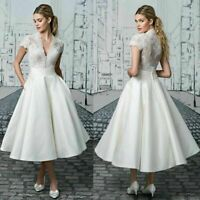 A Line Wedding Dresses White Ivory Short Bridal Gowns V Neck Lace Top Tea Length