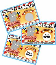 CIRCUS/CARNIVAL PERSONLIZED SCRATCH OFF OFFS PARTY GAMES CARDS BIRTHDAY FAVORS