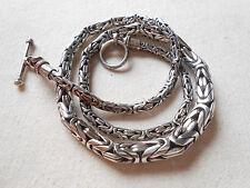 "Amazing Heavy Sterling Silver 18"" Byzantine Necklace       381818"