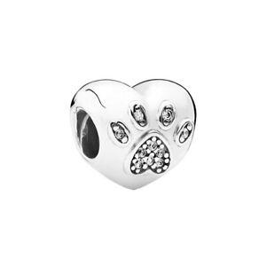 Genuine S925 ALE Pandora I Love My Pet Paw Print Heart Charm