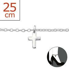 925 Sterling Silver Cross Charm Anklet / Ankle Bracelet 25cm Uk Seller