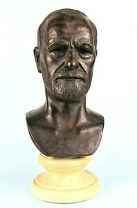SIGMUND FREUD BRONZED SCULPTURE BUST SIGNED LEO CHERNE 1958 PSYCHIATRIST STATUE