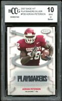 2007 Sage Hit Playmakers Silver #P28 Adrian Peterson Rookie BGS BCCG 10 Mint+