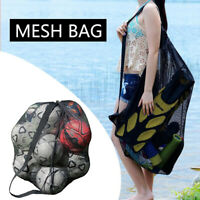 Sports Ball Bag Drawstring Mesh w/ Shoulder Strap Large Capacity Basketball Sack