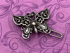 Brighton Silver Scroll Butterfly Hair Clip Accessory