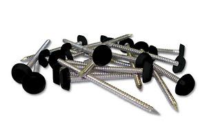 Poly Pins 25mm Black Plastic Headed Nails 50 Quantity Fascia nails