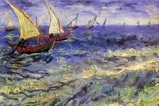 Vincent Van Gogh Boats at Sea Saintes Maries de la Mer - Poster 24x36 inch