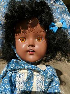 "Vintage 1950s Plastic Molded Arts Black African American 15"" Walker Doll"