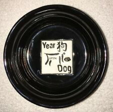 """Petrageous Designs Year of the Dog Pet Bowl Stoneware 6"""" Diam Black and White"""