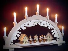 Arc à lumière à bougies 3D Bergmann Chapelle avec 6 figurines 57x38 cm 10166