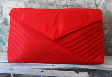 Vintage Emanuel UNGARO Parfums Purse CLUTCH Bag Red Quilted Fabric Envelope Look